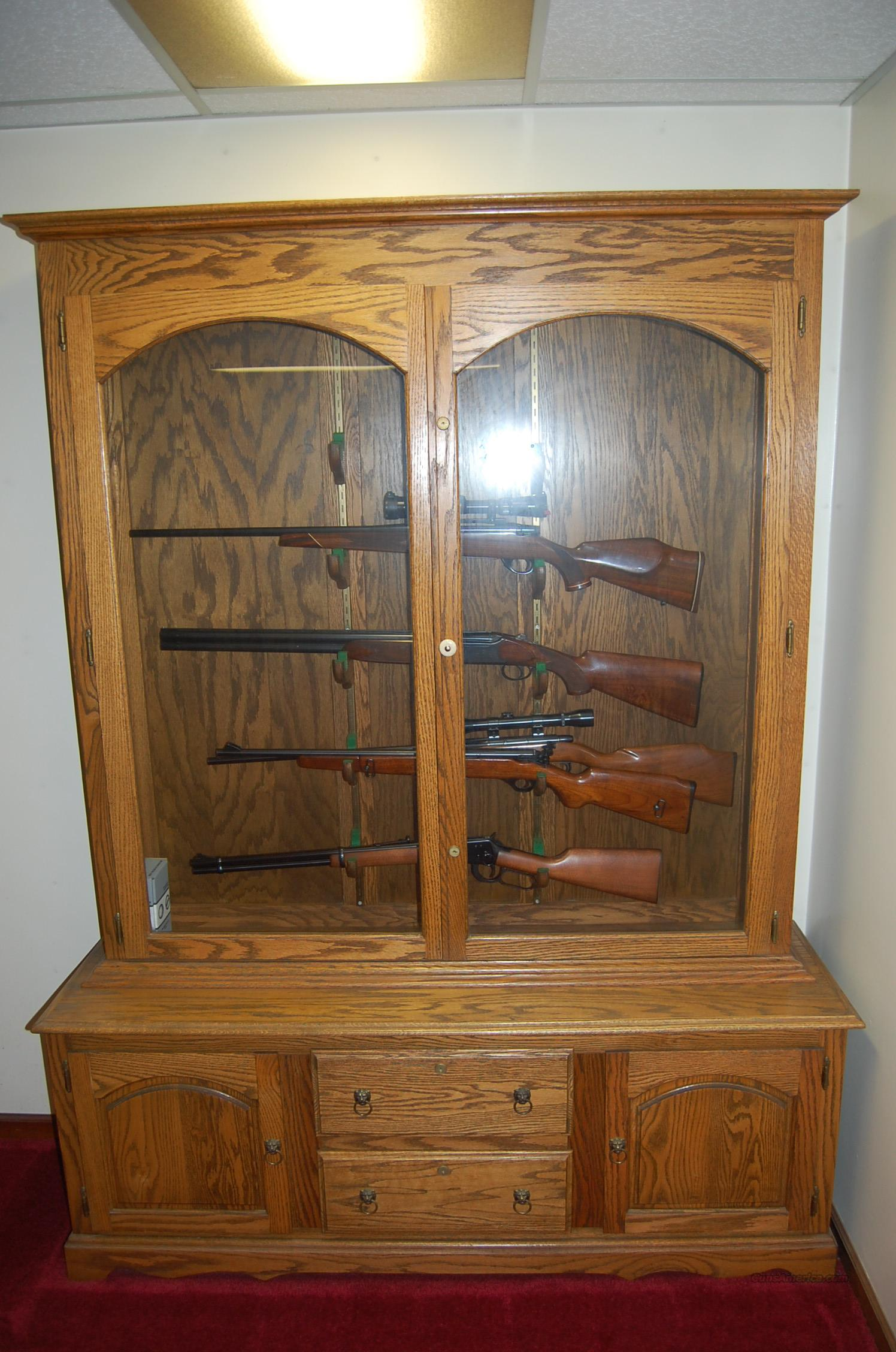 Gun CabinetSolid Oak Holds 10 Guns in Beautif for sale