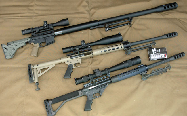 From top: Watson's Weapons' The Boss, Safety Harbor SHF/R50 and the Ligamec Ultralite 50 are all economical .50-caliber rifles that make some use of readily available AR-15 parts.
