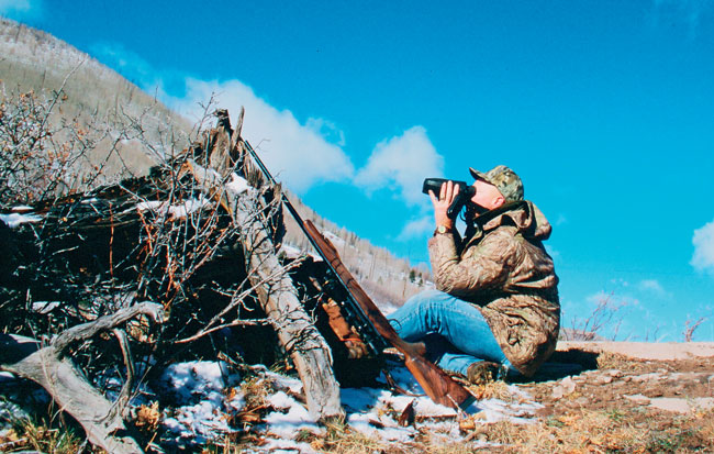 Using Leica's original Geovid, the author spotted and ranged the biggest elk he'd ever seen from this spot. The 500-­yard shot was a slightly high miss. He failed to take into account the uphill angle, which becomes a factor at such distance. Many current rangefinders account for angles, but such a feature didn't exist then.