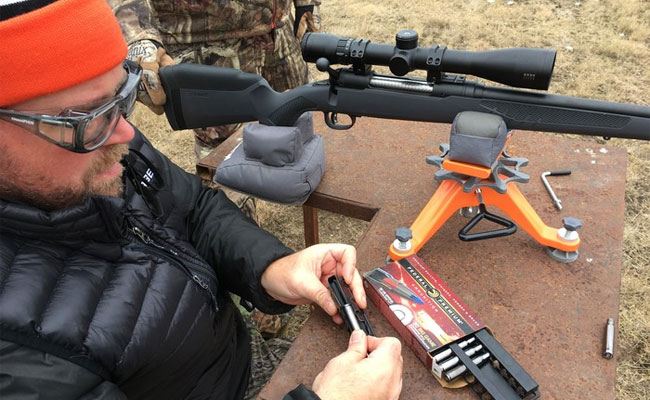(Photo by Lynn Burkhead): Thanks to Savage Arms all-new user-adjustable AccuFit system, the Model 110 rifle can be precision fit to a shooter's form…even from a deer camp's kitchen table.