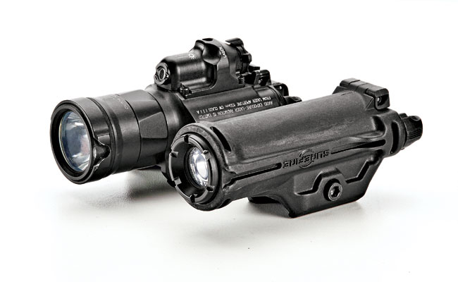 The MasterFire's lug-and-cam retention system is designed to interface with the grooves molded into the bezels of certain Surefire light models.