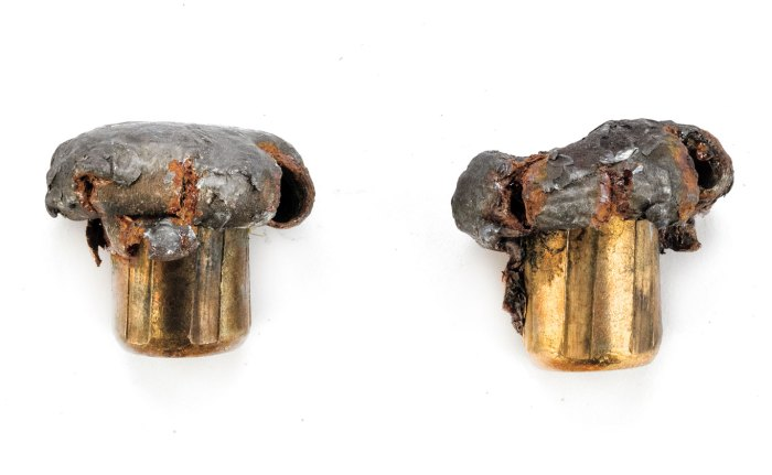 This pair of .375-caliber bullets fired into a buffalo from 25 and 50 yards, respectively, demonstrated the high weight retention. Later, rust developed on the bullets' copper-clad steel jackets.