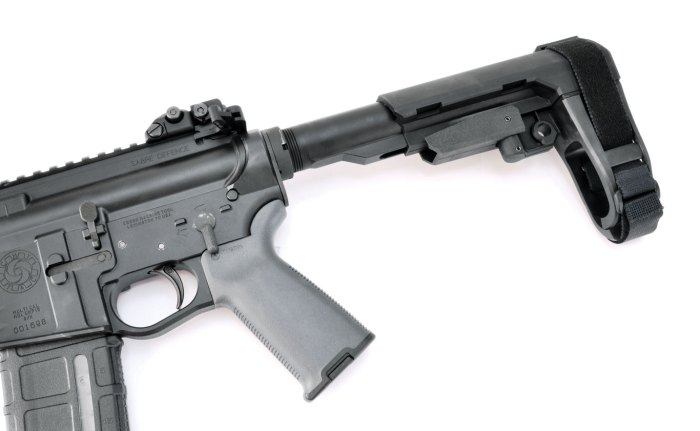 A prototype of SB Tactical's newest brace, the SBA3, at full extension. It is five-position adjustable and comes with a carbine receiver extension, which is ATF legal.