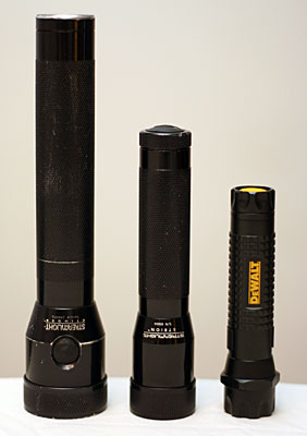 Left to Right: Streamlight Stinger, Streamlight Strion, DeWalt 1AAT