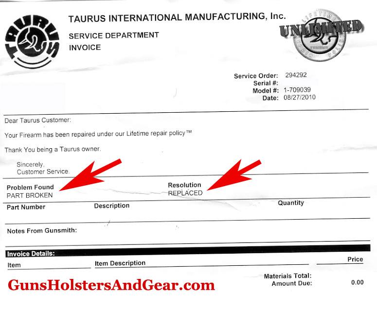 Taurus 709 Invoice