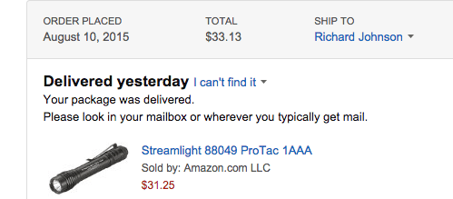 purchase receipt for flashlight