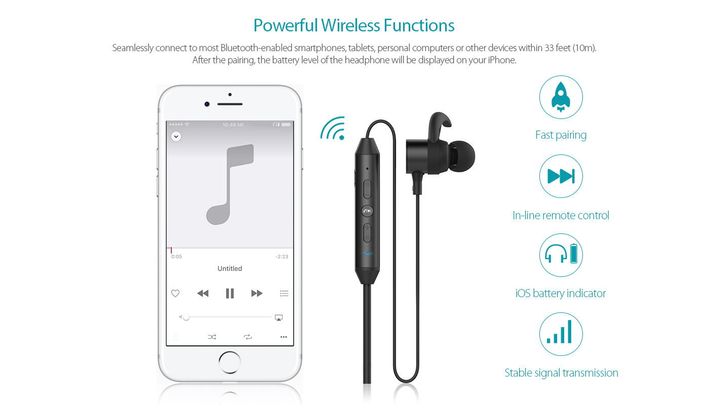 Magnetic Wireless Stereo In-Ear Headphone-dodocool.com
