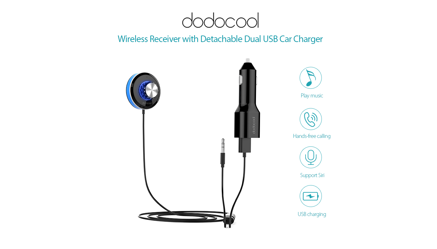 Hands Free Car Kit Music Receiver Dodocool