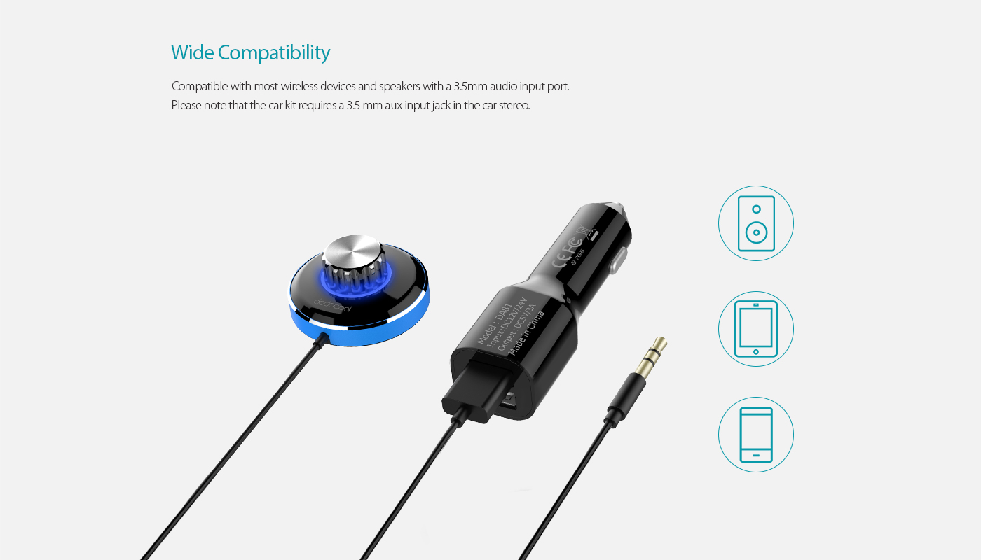 Dodocool Wireless Hands Free Car Kit Music Receiver With 3