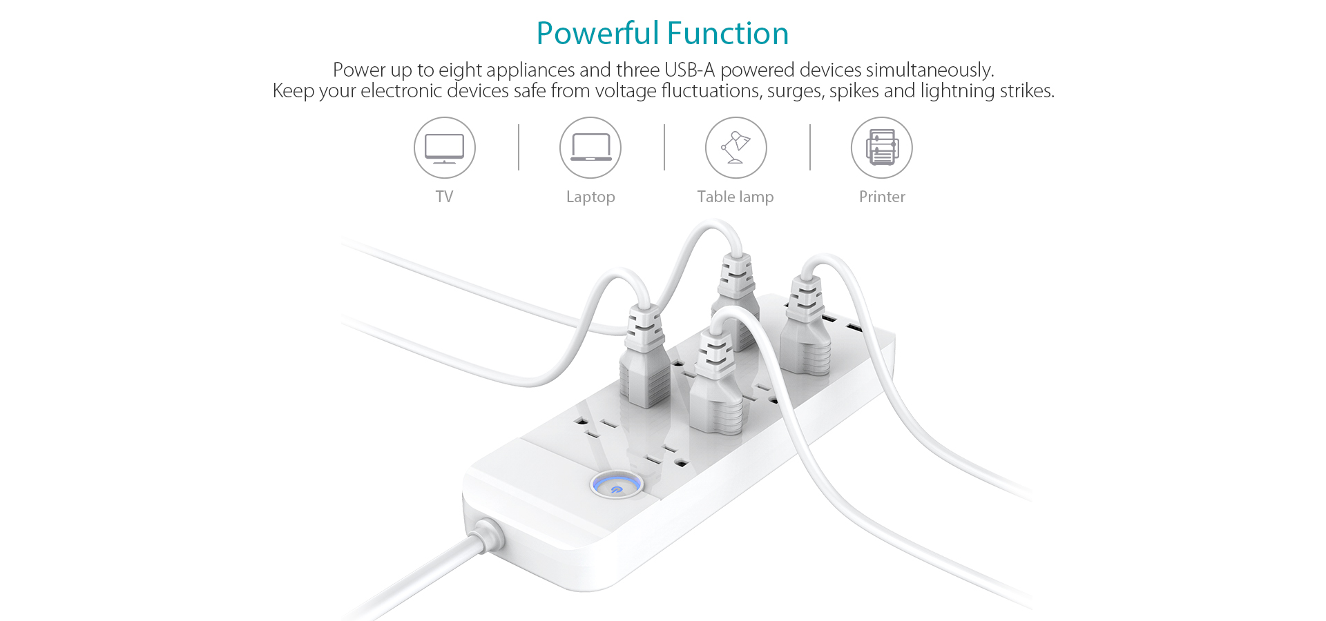 W Smart 8 Outlet With 15 5w 3 Port Usb Charger