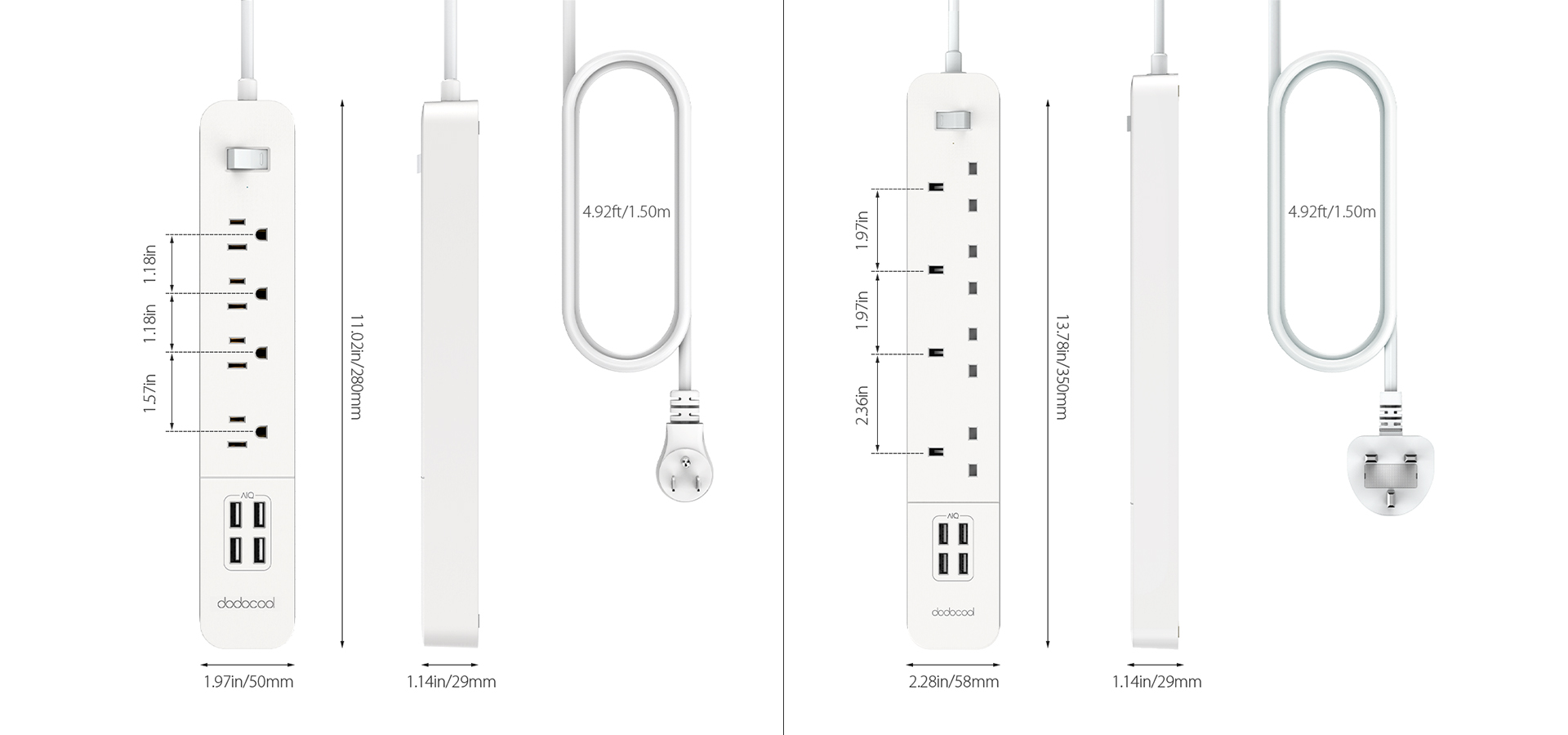 Surge Protector Power Strip With 4 Port Usb Charger