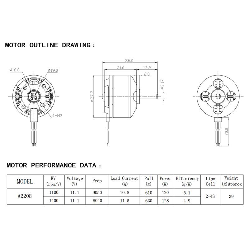 Original GoolRC A2208 1400KV Brushless Motor and 20A 5V/3A