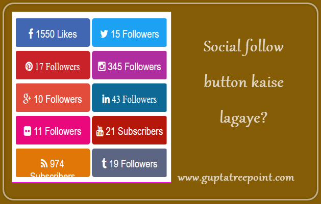 Social follow button kaise add kare
