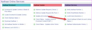 Check Aadhaar bank linking status