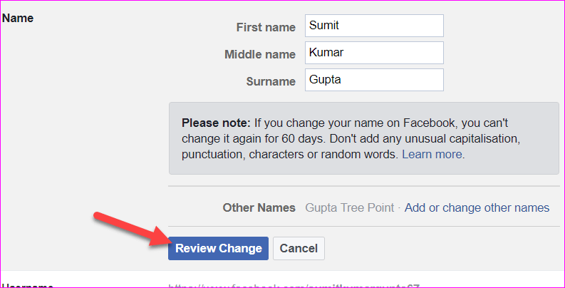 name changement on facebook