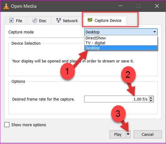 Select Desktop option