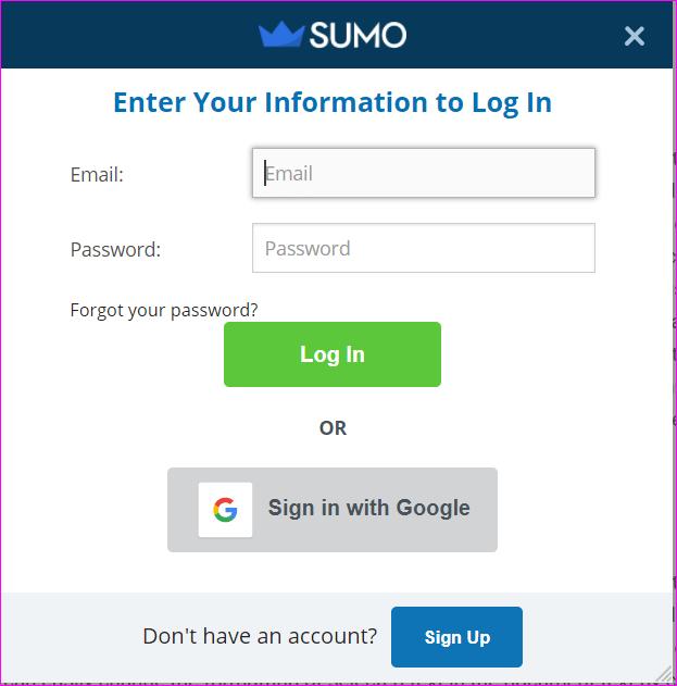 Sumo login box