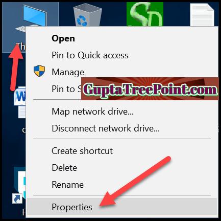 Properties option