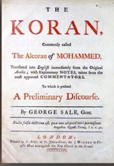 Ejemplar del Corán de Jefferson abierto.