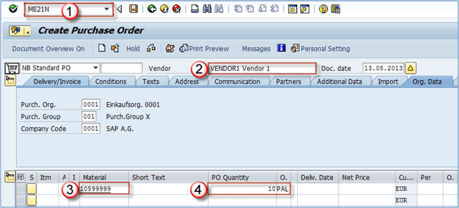 How to Create a Purchase Order ME21N in SAP