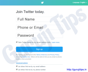 Twitter Signup Process