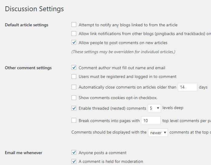 wp comment settings