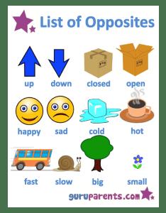 List of opposites worksheet also worksheets guruparents rh