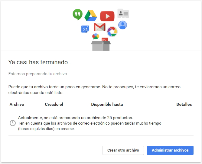 google takeout archivos creados