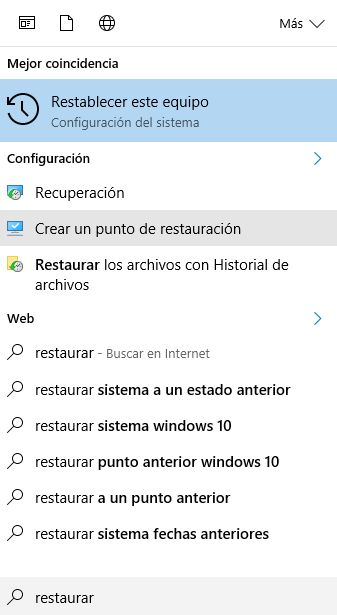 windows 10 restaurar