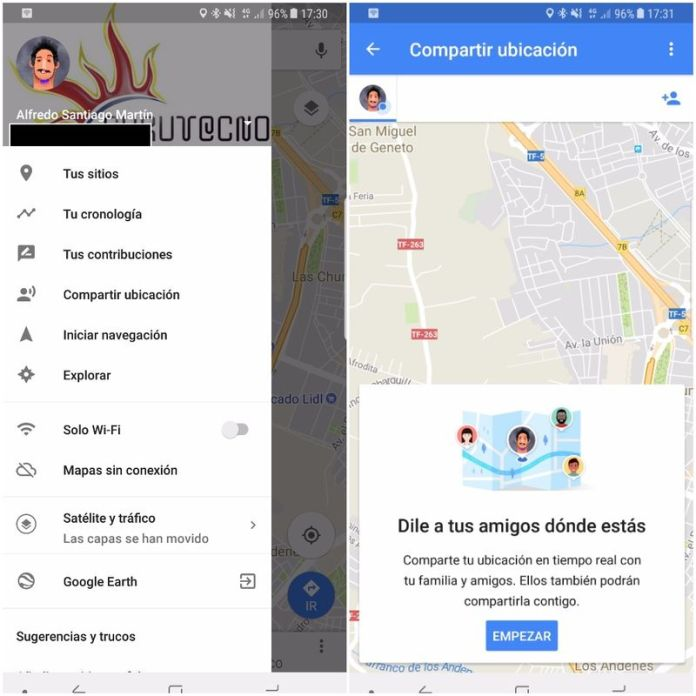 google maps compartir
