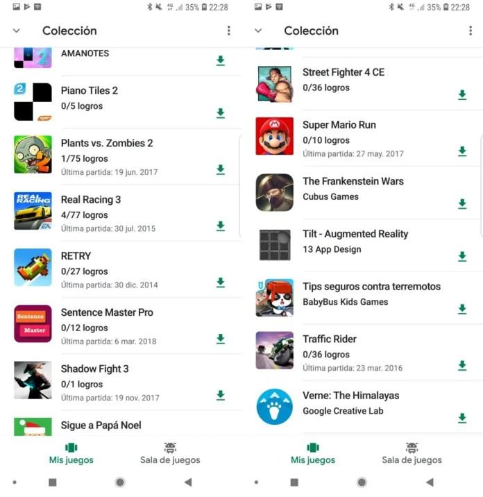 Google Juegos historial