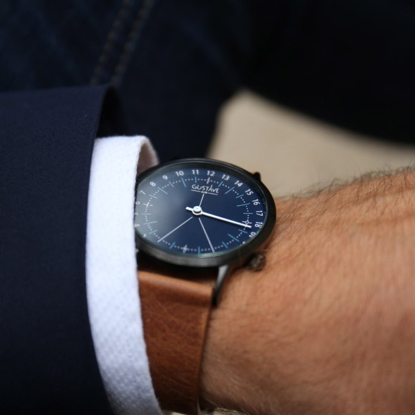 24H Watch Blue - Leather Brown