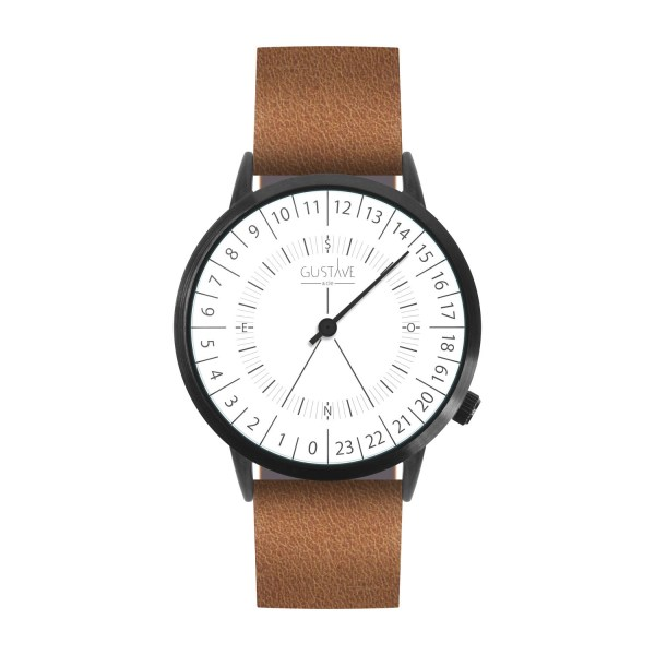 24H Watch <br> White - Brown Leather