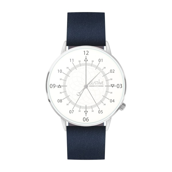 Louis Watch White & Silver - Blue Leather