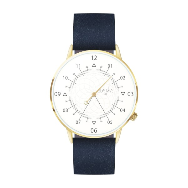 Louis Watch White & Gold - Blue Leather