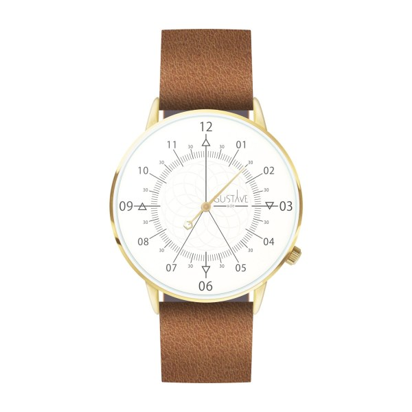 Louis Watch Blanc & Or - Brown Leather