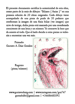 Biliares { Furias } certificado de autenticidad (reverso) | por Gustavo A. Díaz G.