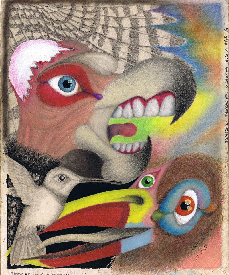 Dibujo: Gran Condor Sagrado con pájaro lenguado | por Gustavo A. Díaz G.