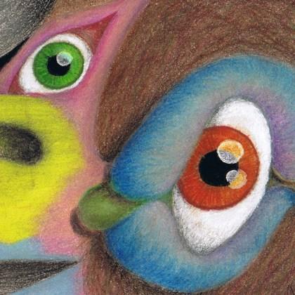 Dibujo: Gran Condor Sagrado con pájaro lenguado (detalle 3)| por Gustavo Adolfo Díaz G.