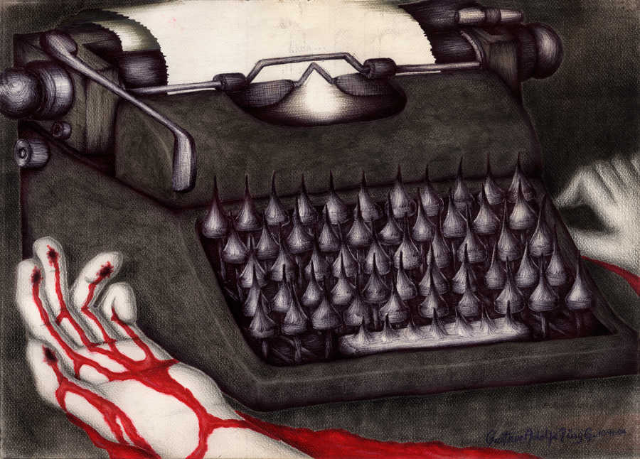 Dibujo: Agonía creativa (La Nada). | por: Gustavo Adolfo Diaz G.