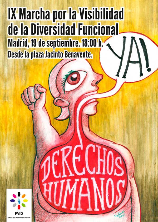 Diseño: Cartel IX Marcha Foro de Vida Independiente, Derechos Humanos ¡Ya!| por Gustavo Adolfo Díaz G.