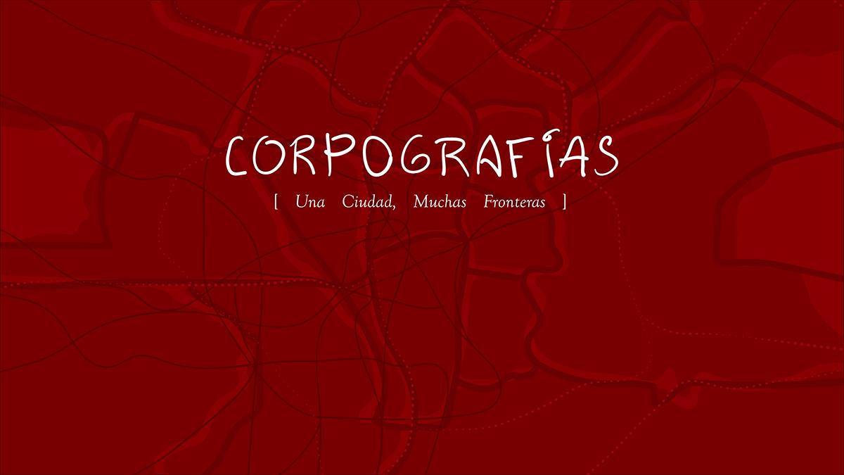 Imagen alegórica a las vías de comunicación de Madrid con el texto: Corpografías. Una Ciudad, Muchas Fronteras