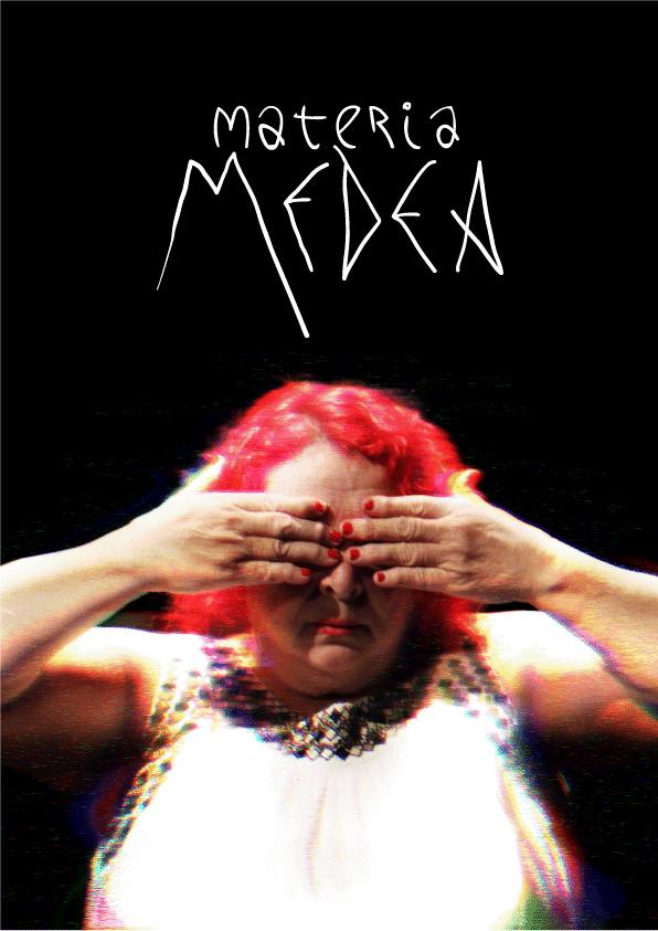 Cartel teaser con el título de la obra con la foto de Medea distorsionada y en claroscuro, mujer pelirroja, tapándose los ojos. El título está superpuesto en blanco