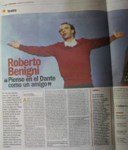Nota a Benigni en Clarin Espectaculos