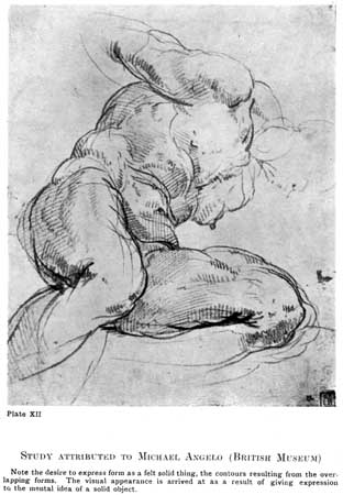 Plate XII. STUDY ATTRIBUTED TO MICHAEL ANGELO (BRITISH MUSEUM) Note the desire to express form as a felt solid thing, the contours resulting from the overlapping forms. The visual appearance is arrived at as a result of giving expression to the mental idea of a solid object.