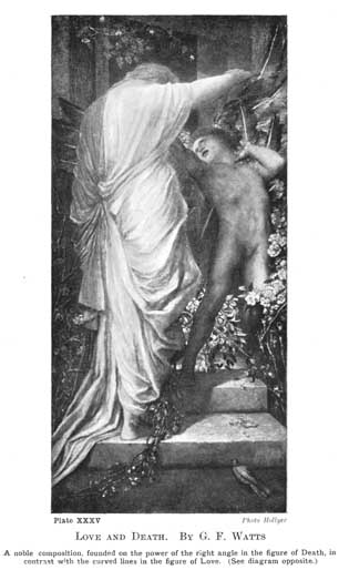 Plate XXXV. LOVE AND DEATH. BY G.F. WATTS A noble composition, founded on the power of the right angle in the figure of Death, in contrast with the curved lines in the figure of Love. (See diagram opposite.) Photo Hollyer