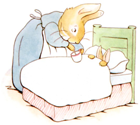 Mrs. Rabbit gives Peter camomile tea