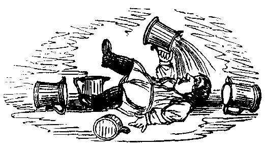 A drunk lays on the floor surrounded by pitchers and pours the contents of one on his head.