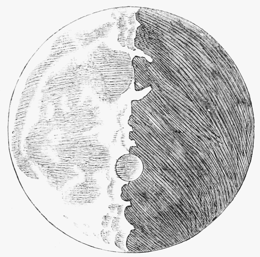 Facsimile sketch of lunar surface by galileo