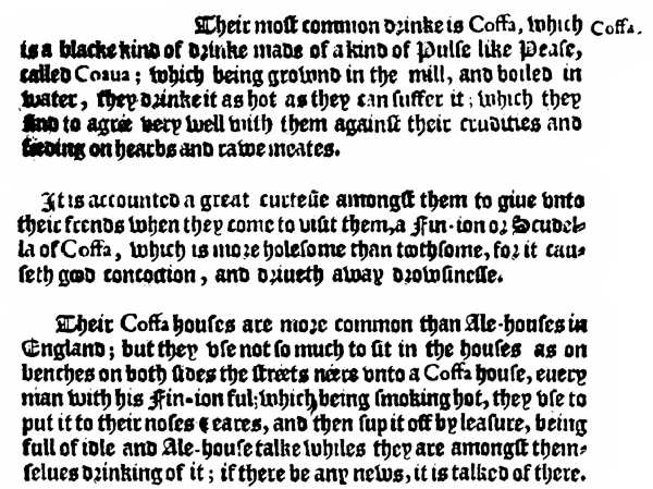 References to Coffee as Found in Biddulph's Travels 1609